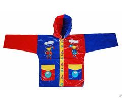 R 1021 1002 2 Blue And Red Shiny Pvc Vinyl Kids Rain Weatherproof Jacket