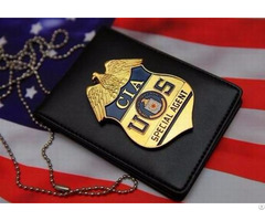 Neck Chain Badge Holder Leather Wallets