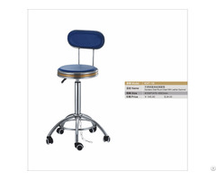 Ss Round Stool With Leather Backrest