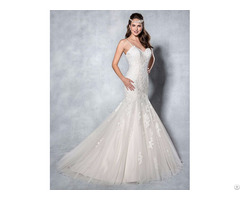 China Factory New Fashion Wedding Dress With Lace Appliqued