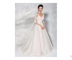 A Line Princess Wedding Dress V Neck Floor Length Bridal Gown