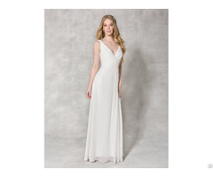 China Cheap Wedding Dress V Neck Design For Bridal