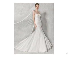 Strapless Mermaid Wedding Dress With Lace Appliqued