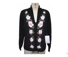 Cashmere Sweater Cardigan Knits Women Black Knitwears Intarsia