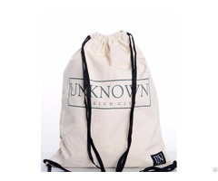 Cotton Drawstring Bag Reusable Cinch Pack Ideal For Sports Gym Daily Use With Zippered Back Pocket