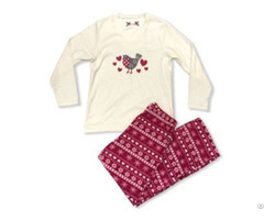 Ladies Printed Fairisle Microfleece Pajama Set Ls 2027