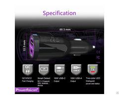 Powerfalcon 36w Dual Qc3 Usb C A Car Charger