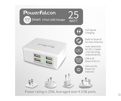 Powerfalcon 25w Smart 4 Port Usb Charger Interchangable