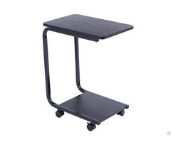 China Factory Hot Sell C Shaped Sofa Snack Side End Table Stand Desk With Casters Wholesale