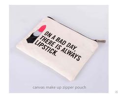 Cotton Canvas Cosmetics Zipper Pouch