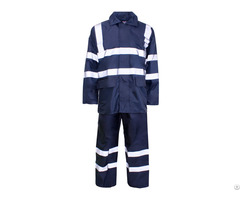 China Free Sample High Quality Waterproof Navy Blue 190t Polyester Pvc Raincoat Manufacturer
