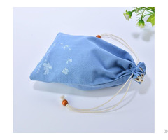 Double Layers Cotton Drawstring Bag With Vintage Beads