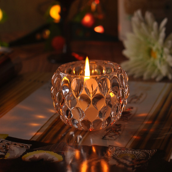 2015 New Arrival Engraved Clear Glass Candle Holder