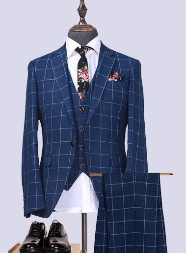 Latest Design Slim Fit Tr Plaid Tuxedo For Men