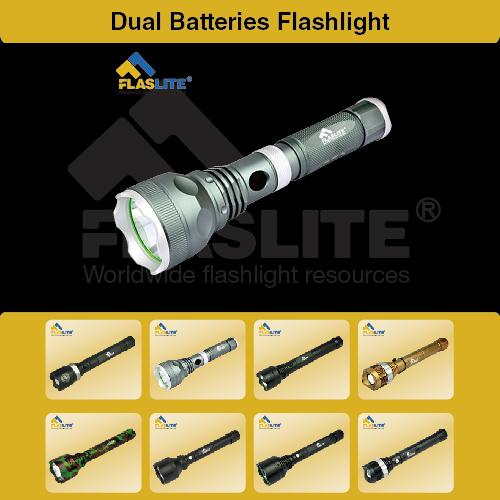 Led Dual Batteries Flashlight Flaslite