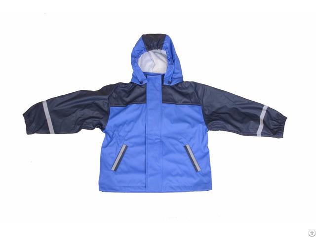 R 1022 1003 Blue Pu Boys Rain Jacket