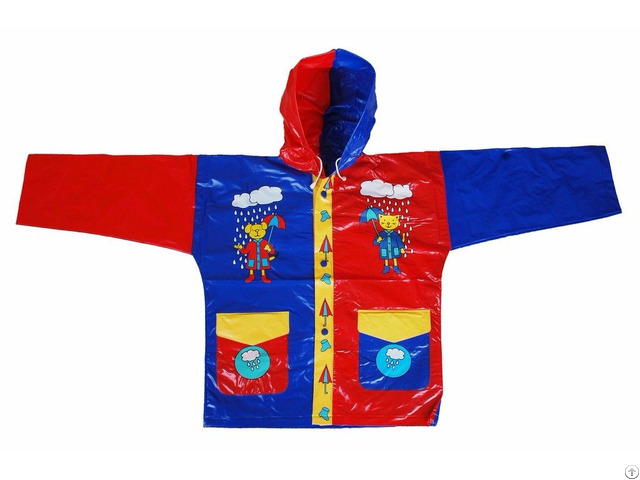 R 1021 1002 2 Blue And Red Shiny Pvc Vinyl Kids Rain Weatherproof Jacket