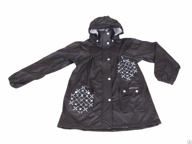 R 1022 1006 Black Pu Long Rain Jacket For Women