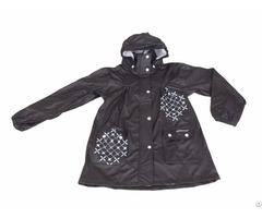 R 1022 1006 Black Pu Long Rain Jacket For Women