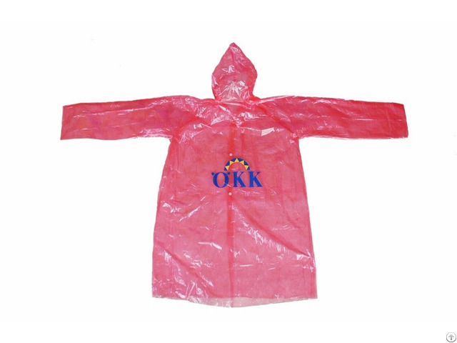 R 1059 Pe Red Disposable Long Lightweight Rain Jacket