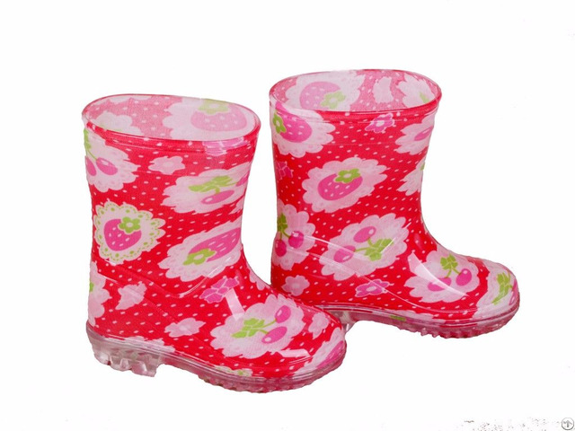 Rb 1001 Red Fruit Print Pvc Vinyl Toddler Rain Boots