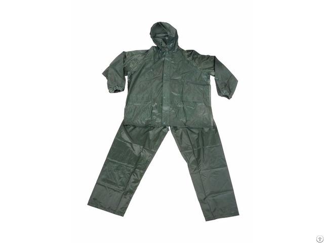 R 0910 6 Green Polyester Nylon Raincoat For Men