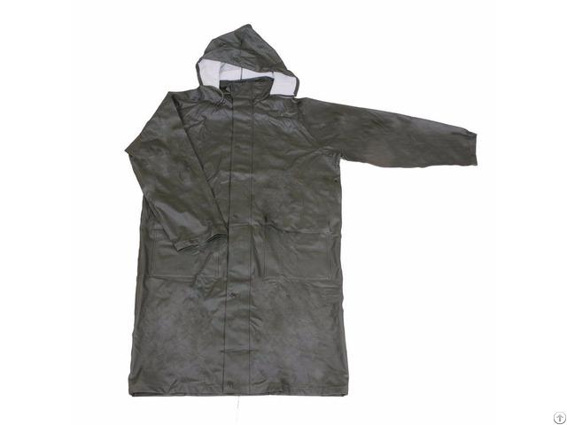 R 24017 Green Pu Long Rain Mens Waterproof Jackets