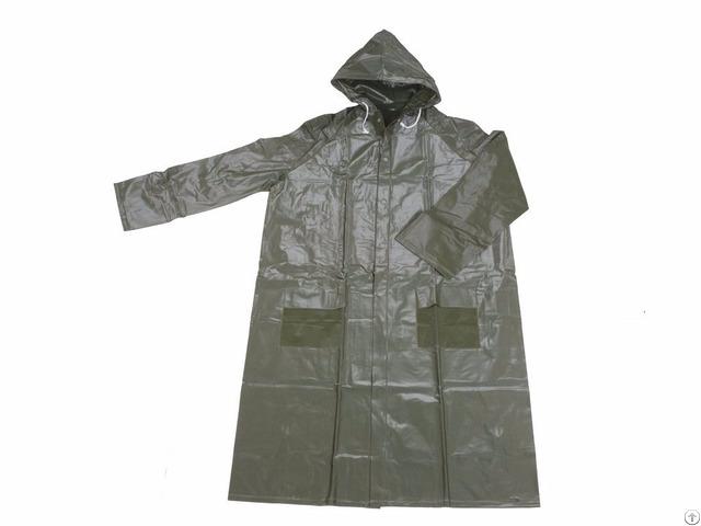 R 1056 9 Green Heavy Duty Pvc Vinyl Long Rain Jackets For Men