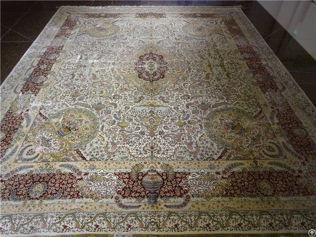 Silk Persian Rug Handmade Antique Carpet Factory Whosale Tapestry