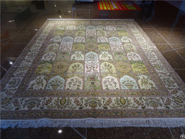 Handmade Sil Rug Persian Carpet Antique Tapestry