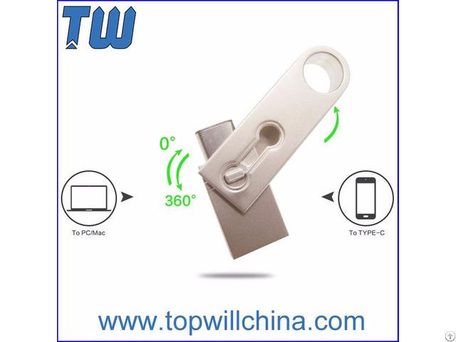 Key Ring Usb 3 1 Type C Pen Drive Mini Rotating