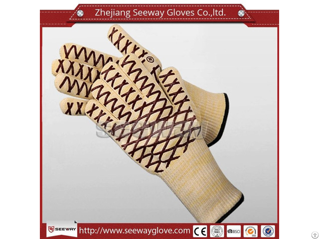 Seeway Heat Fire Cut Resistant Silicone Coated Grill Aramid Bbq Glove