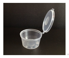 1oz Plastic Sauce Container With Hinged Lid