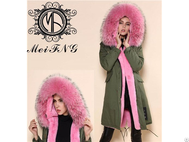 Long Style Women Fur Hooded Parka Real Raccoon Trimmed