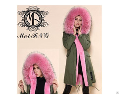 Long Style Women Fur Hooded Parka Real Raccoon Trimmed