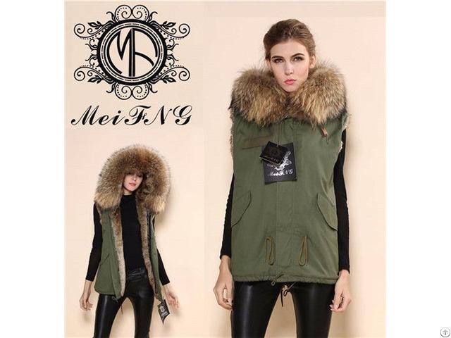 Ladies Fur Vest Jacket With Big Hooded Coat