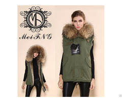 Ladies Fur Vest Jacket With Big Hooded Coat