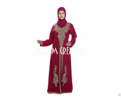 Maroon Dubai Fancy Jilbab Arabian Dress