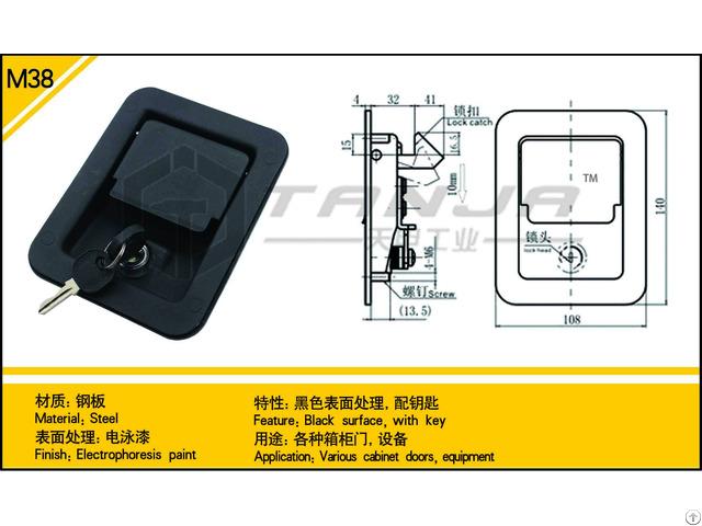Tanja M38 Steel Black Surface Door Fitting With Key