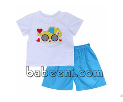 Adorable Truck With Red Hearts Applique Boy Sets Bb500