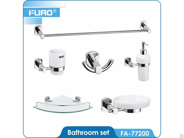 Wall Mounted Brass Chrome Bathroom Accessory Set