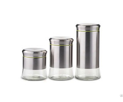 Glass Canister With Stainless Steel Material