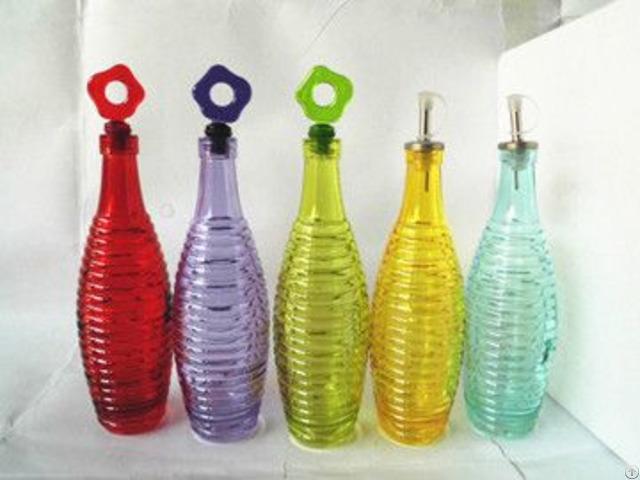 Various Colored Glass Oil Vinegar Bottle