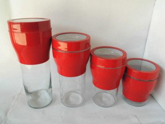 Red Torch Shaped Glass Canister With Stainless Steel Set S 4