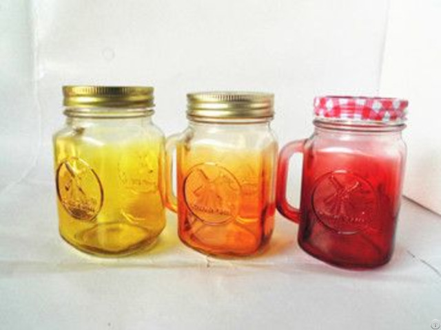 Glass Mason Drinking Jar With Colored And Handle