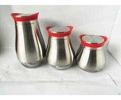 Glass Storage Canister With Stainless Steel Set