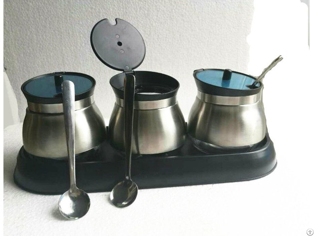 Glass Storage Canister With Ladle Stainless Steel