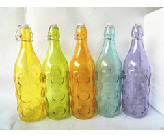 Glass Bottle With Colored And Chrysanthemum Stamp