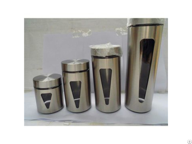Glass Inverted Triangular Storage Bottle With Stainless Steel