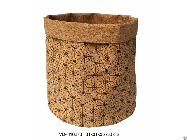 Storage Bags Cork Tote Laundry Basket Living And Bath Room Accessories Nature Material